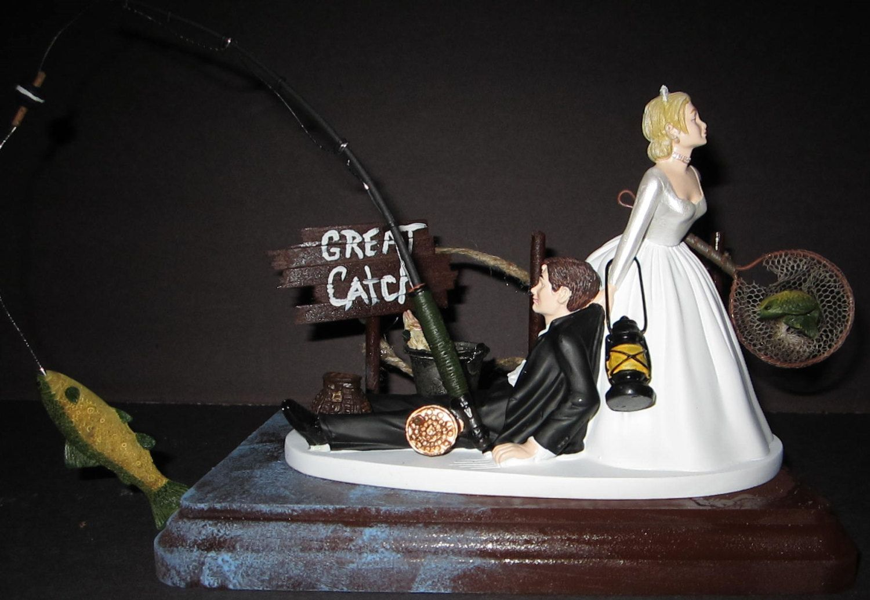 Fishing dock pier sign net pole bride groom wedding cake