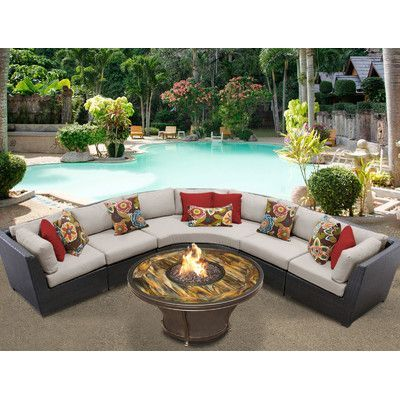 TK Classics Barbados Outdoor Wicker 6 Piece Deep Seating Group with Cushion Fabric: Beige