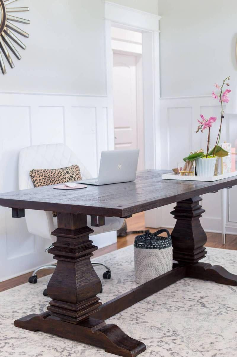 Chic and girly home office with farmhouse trestle table DIY Gold
