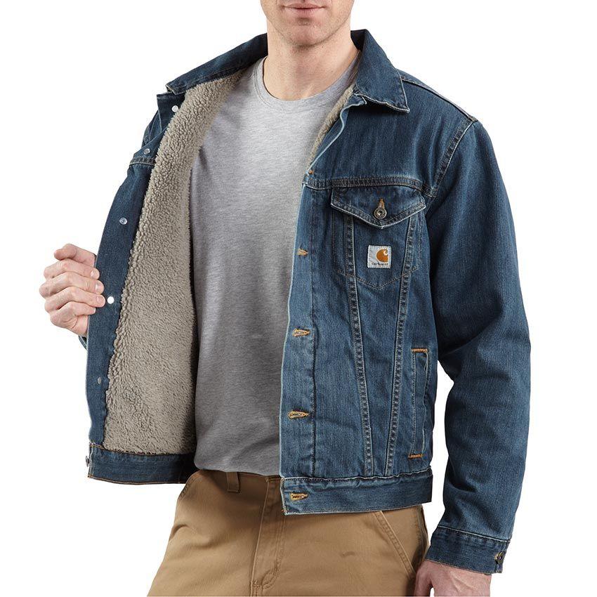 37590d46773 Carhartt Mens Sherpa Lined Denim Jacket