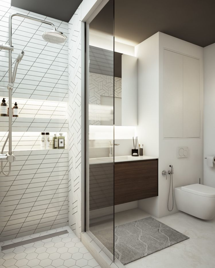 Weiss Grau Beige Badezimmer Dusche Glaswand #dream #house