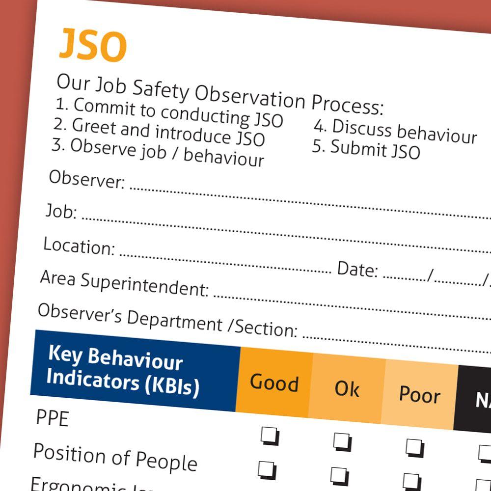 Job Safety Observation Form Job Observation Occupational Health And Safety