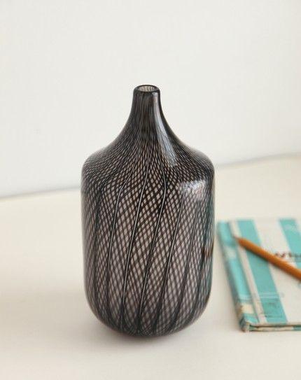 Black And Clear Blown Glass Bud Vase Corporan Glass I