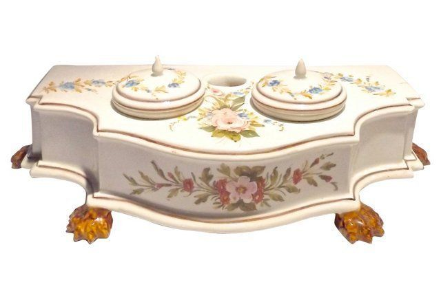 Italian Ceramic Floral Double Inkwell