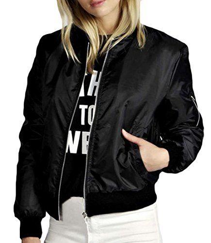 Generic Zip Up Stand Up Women Collar Coat Jacket Bomber Jacket Black S -- Click image for more details.