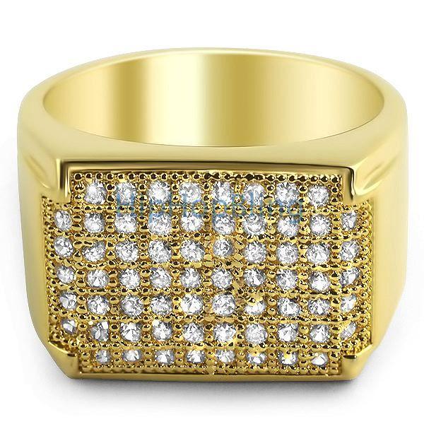 18k Gold Plated Celebrity Status VVS Mens Pinky Ring