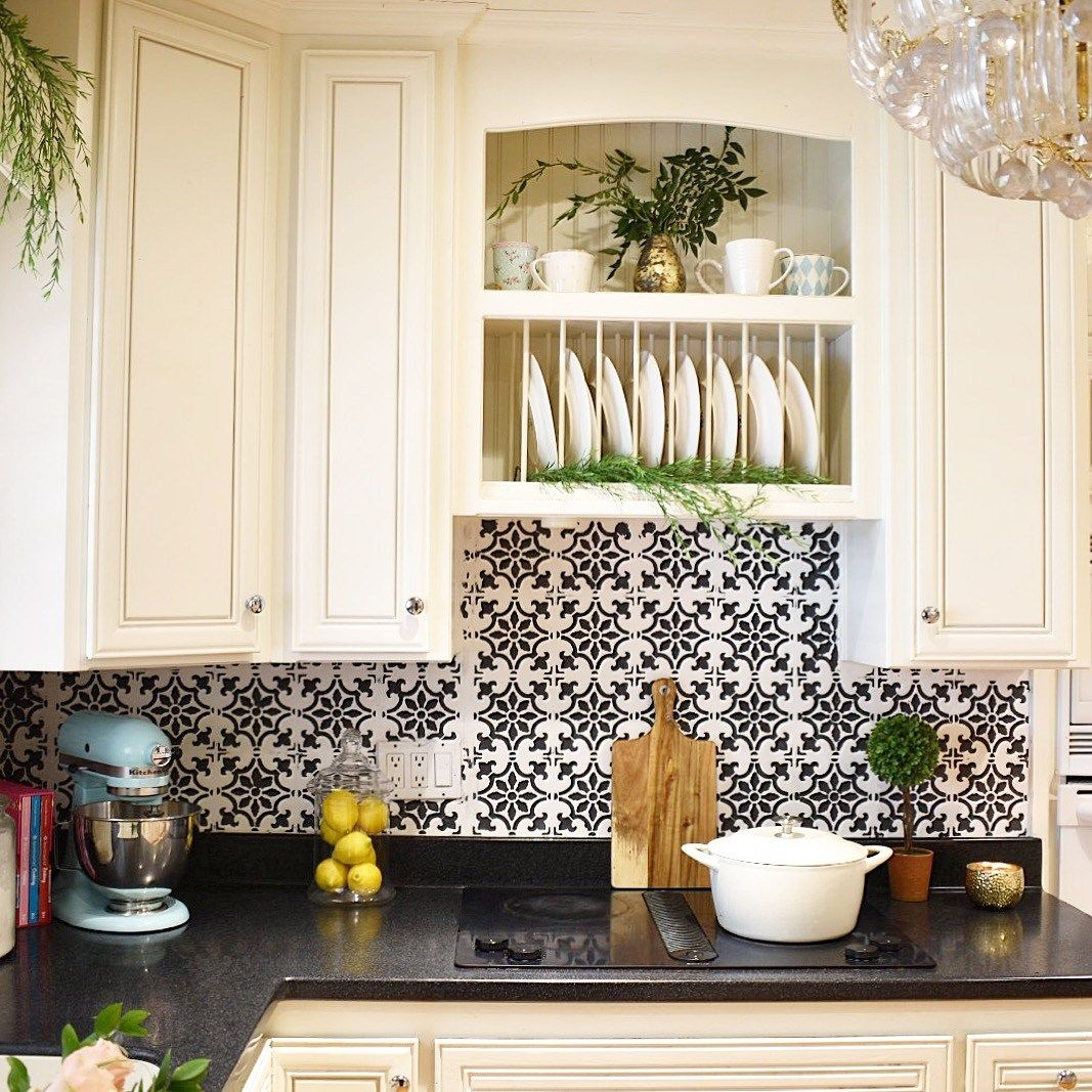 The Collected Home Journal How To Update Your Kitchen For Less Than 50 Fabiola Tile St Kitchen Cabinets Interior Design Kitchen Painting Kitchen Cabinets