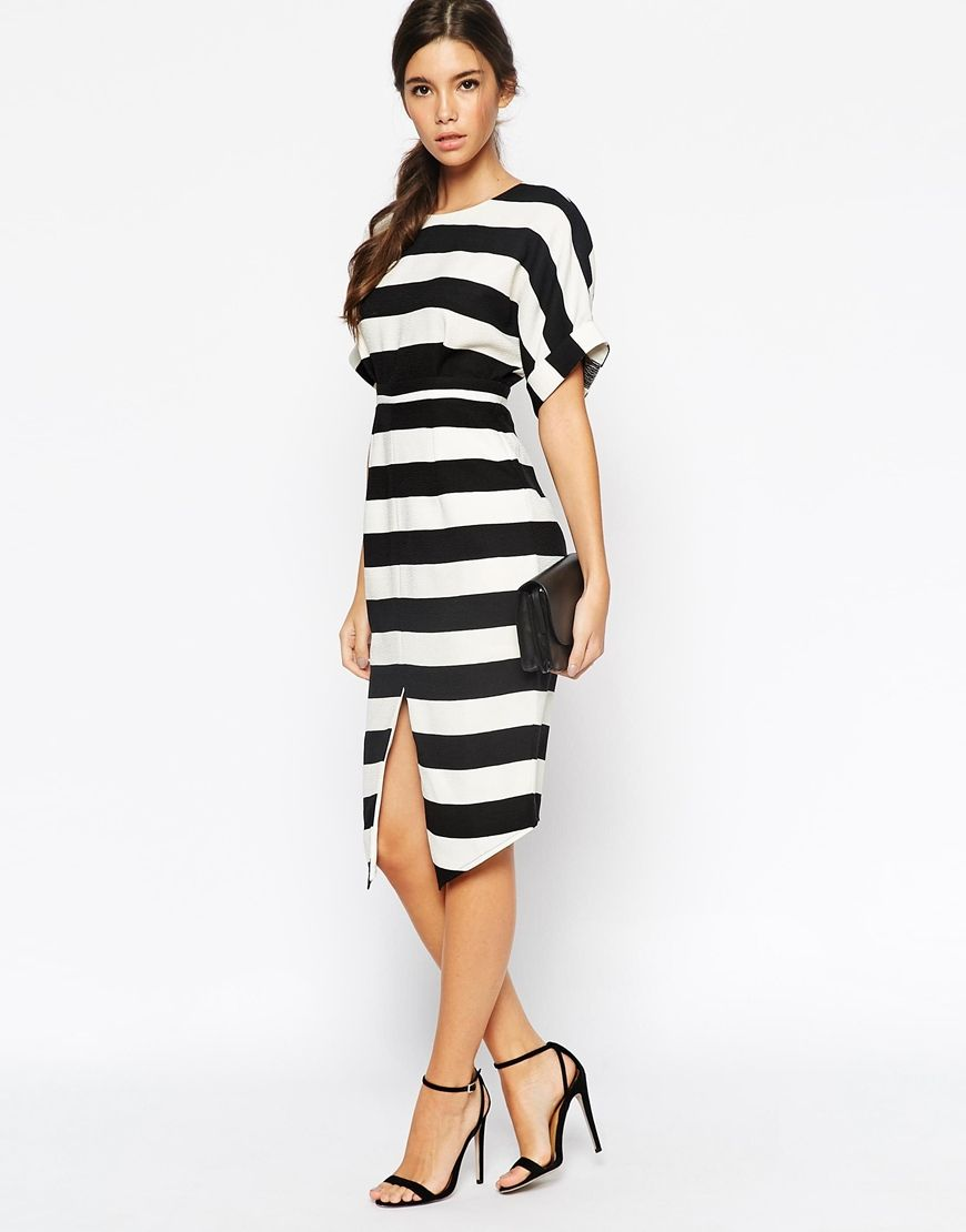 PETITE Stripe Wiggle Dress with Split Front and Wrap Back   Pinterest