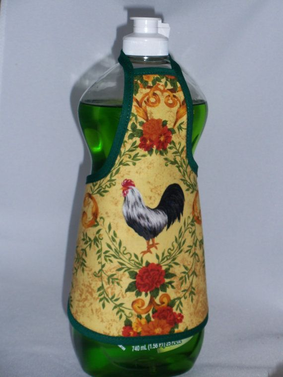 Rooster Country Dish Soap Detergent Bottle Apron Cover