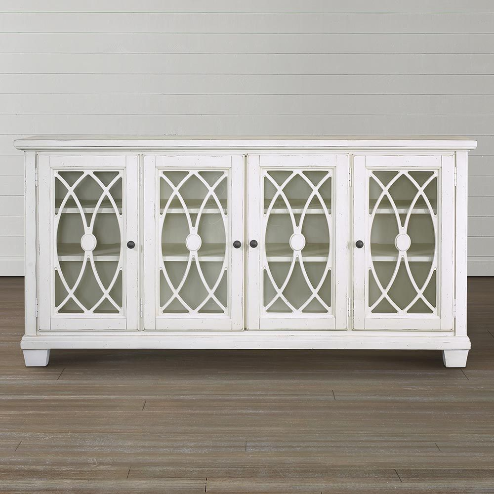 Antique Media Console With 4 Glass Door In Whitewash