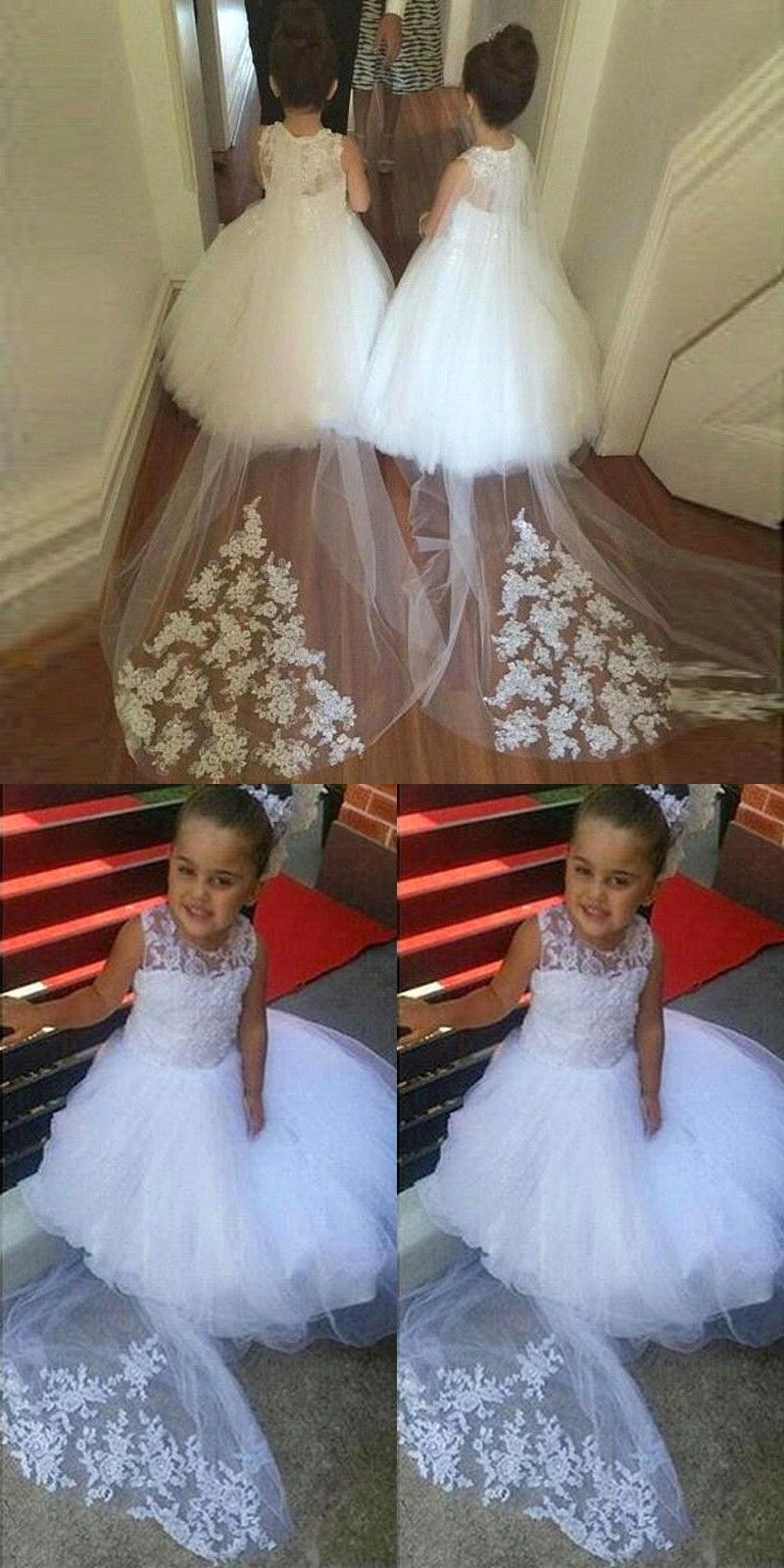 White aline long flower girl dress with lace train in