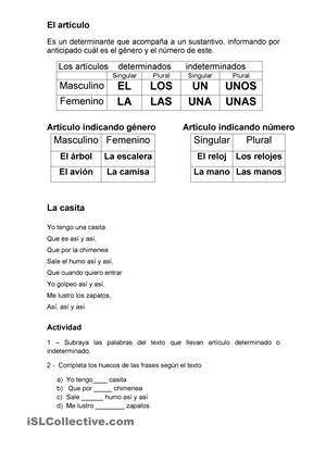 El Articulo Articulos Español Articulos Indefinidos Hojas De Trabajo
