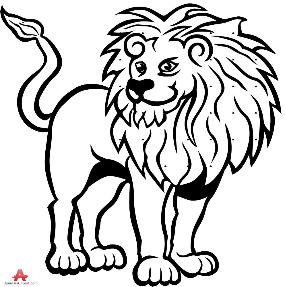 Lion black and white lion drawing in black and white free ...