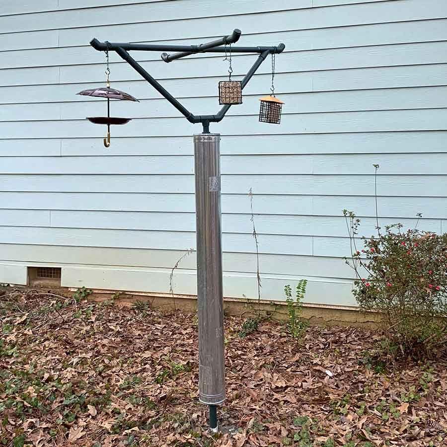 Diy Squirrel Proof Bird Feeder Step By Step Tutorial Squirrel Proof Bird Feeders Bird Feeders Bird Feeder Poles