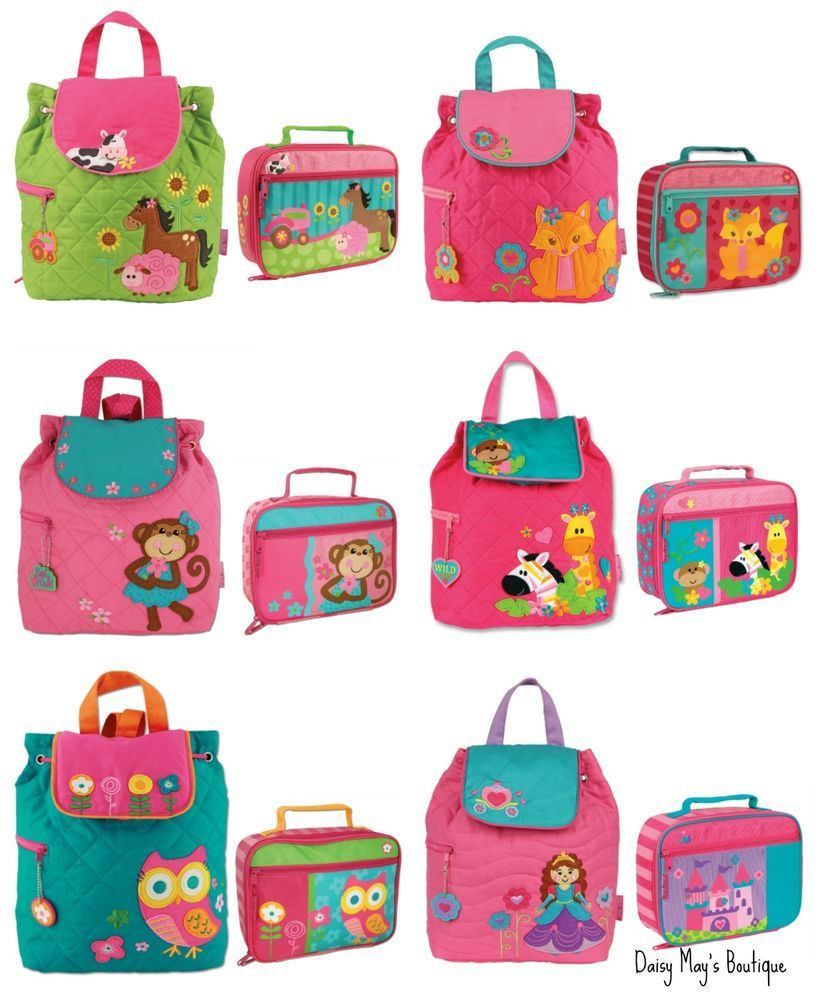 d1fc8de1d34d Stephen Joseph Girls Quilted Backpack and Lunch Box for Kids - Cute ...