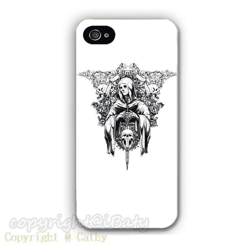 HOT Sale Skull Case Hard Plastic Cell Phone Cover for Apple iPhone 5S 5 5G (Black/White Border)