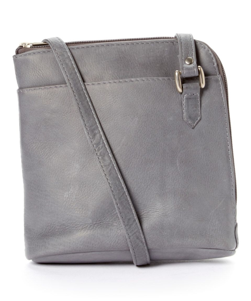 Look at this #zulilyfind! Le Donne Gray L-Zip Leather Crossbody by Le Donne #zulilyfinds