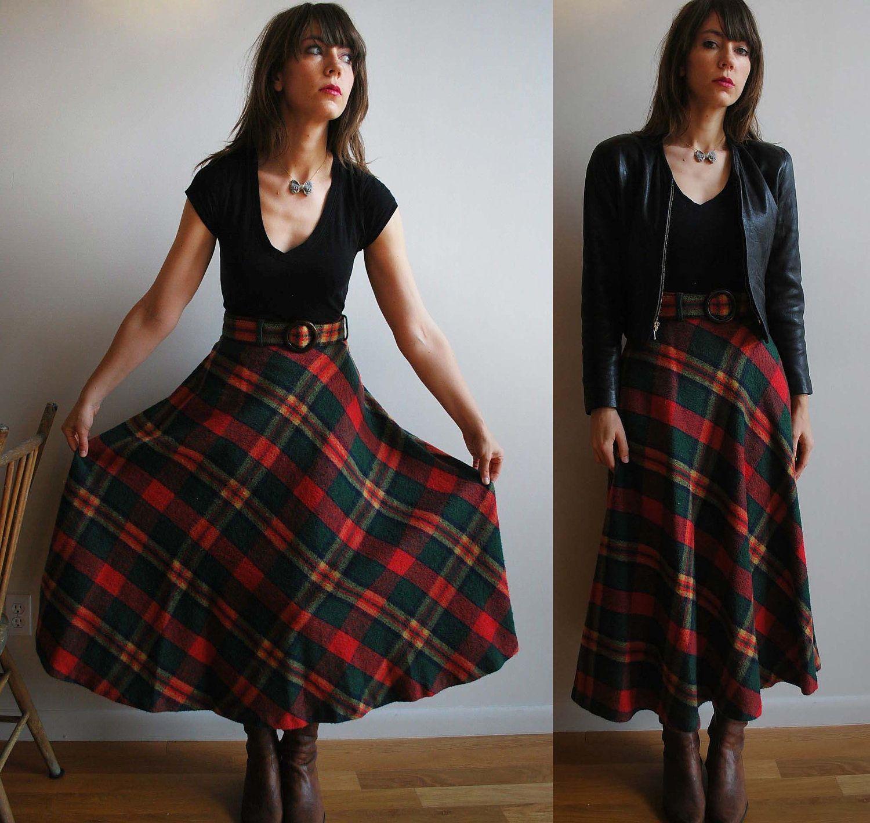 654a371ab2 HIP 70's High Waisted Long Plaid Skirt | Sta sta style | Long plaid ...