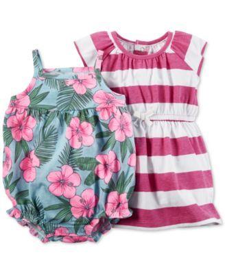 1b67481f202c Carter's Baby Girls' 2-Pc. Striped Dress & Floral-Print Romper Set |  macys.com