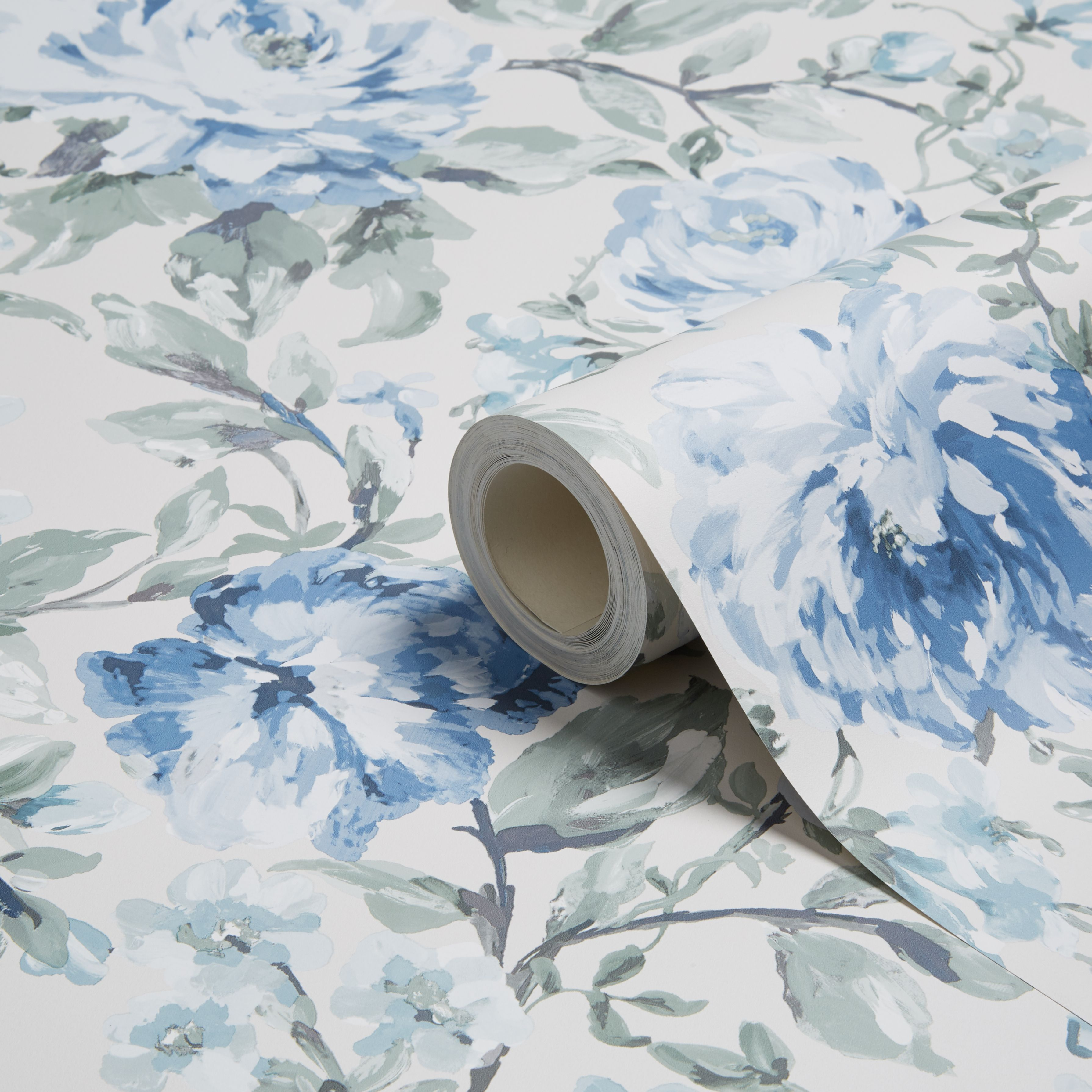 K2 Painterly Blue & Cream Floral Wallpaper
