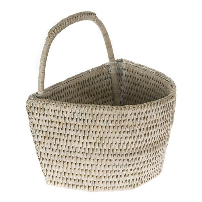 Small Wall Basket - White Washed Rattan