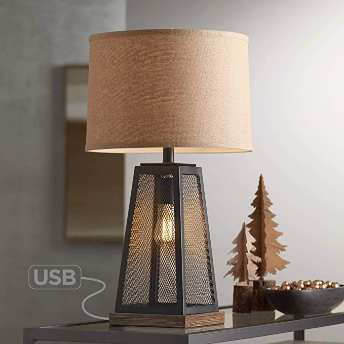 Barris Industrial Artisan Table Lamp With Nightlight Led Usb Charging Port Metal Mesh Base Burlap Shade For Living Room Lamp Bedside Night Stands Artisan Table