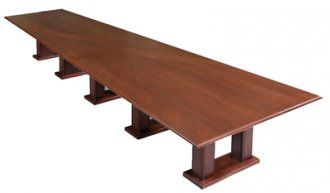 VShaped Video Conference Table In Classic Walnut MFI Custom - V shaped conference room table