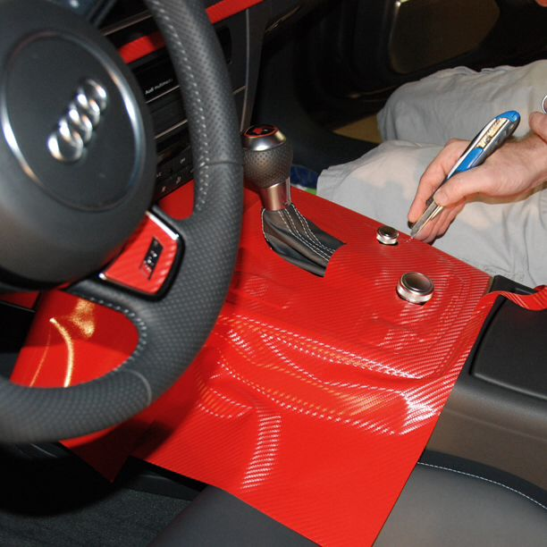 Audi Rs7 Interior Console Wrap In Process With Orafolamericas Geranium Red Carbon Fiber Vinyl