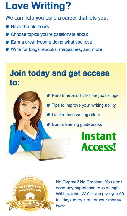 Legitimate writing jobs directory  Write for blogs, ebooks
