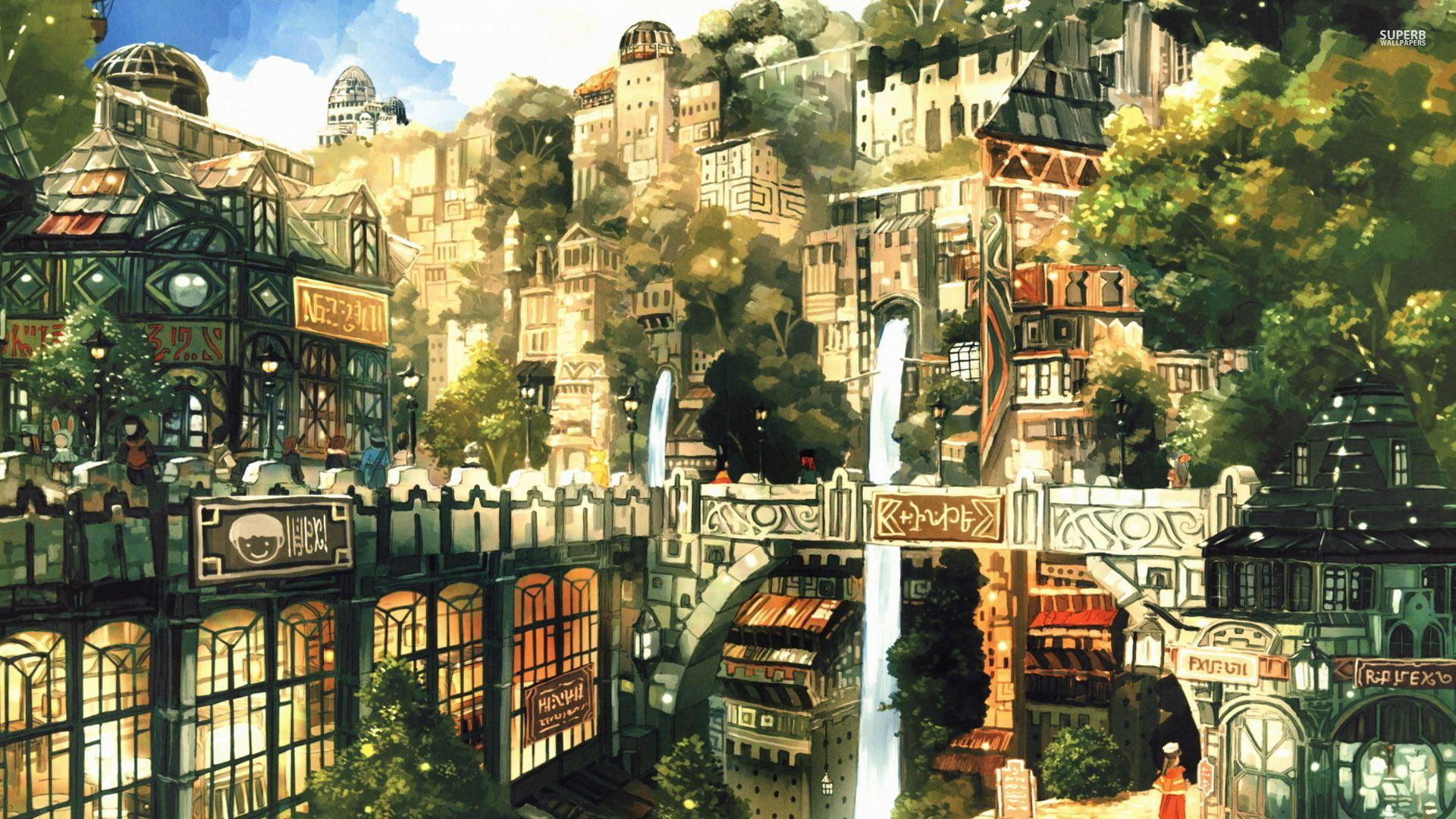 Post-apocalyptic city wallpaper | Anime city, Fantasy city ...