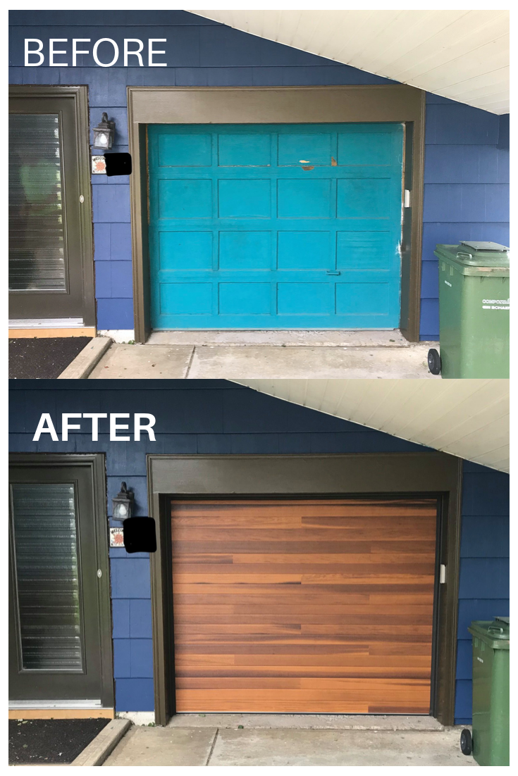 Before And After Planks Garage Door By C H I Overhead Doors Garage Door Design Faux Wood Garage Door Diy Garage Door