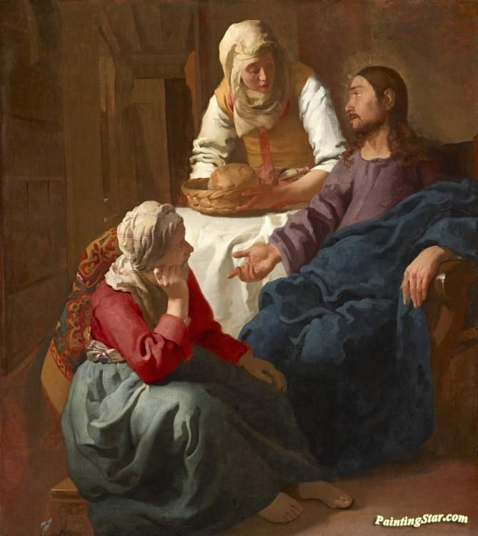 Christ In The House Of Martha And Mary Artwork by Johannes Vermeer Hand-painted and Art Prints on canvas for sale,you can custom the size and frame