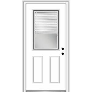 Mmi Door 30 In X 80 In Internal Blinds Left Hand 1 2 Lite Clear 2 Panel Classic Primed Fiberglass Smooth Prehung Front Door Efs684blfs26l The Home Depot In 2020 Mmi Door Prehung Doors Front Entry Doors