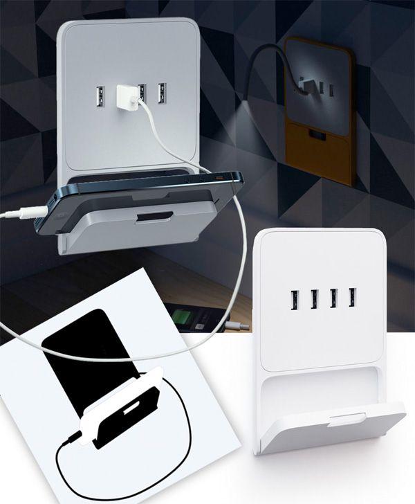 Cargador con adaptador USB directo a la corriente, con soporte para el móvil. Zaryadkus USB Socket by Art Lebedev Studio.