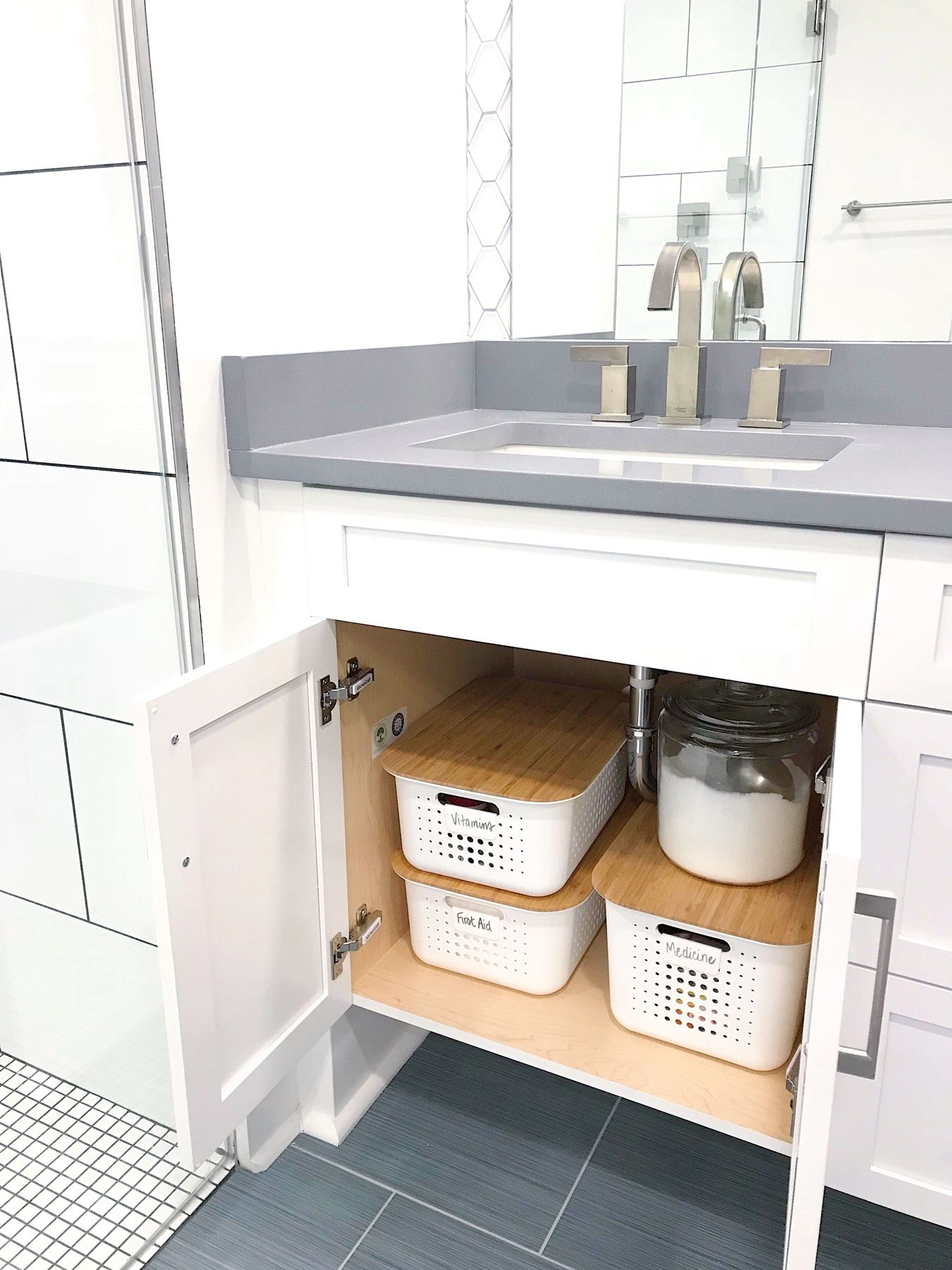 Neat Method Bathrooms Modern Bathrooms White Bathrooms Bathroom Organization Bathroom Desig In 2020 Small Space Bathroom Small Bathroom Storage Under Sink Storage
