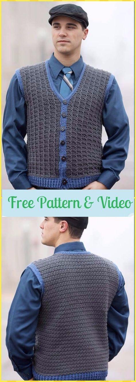 Crochet Sharp Dressed Man Vest Free Pattern & Video - Crochet Men Sweater Free Patterns