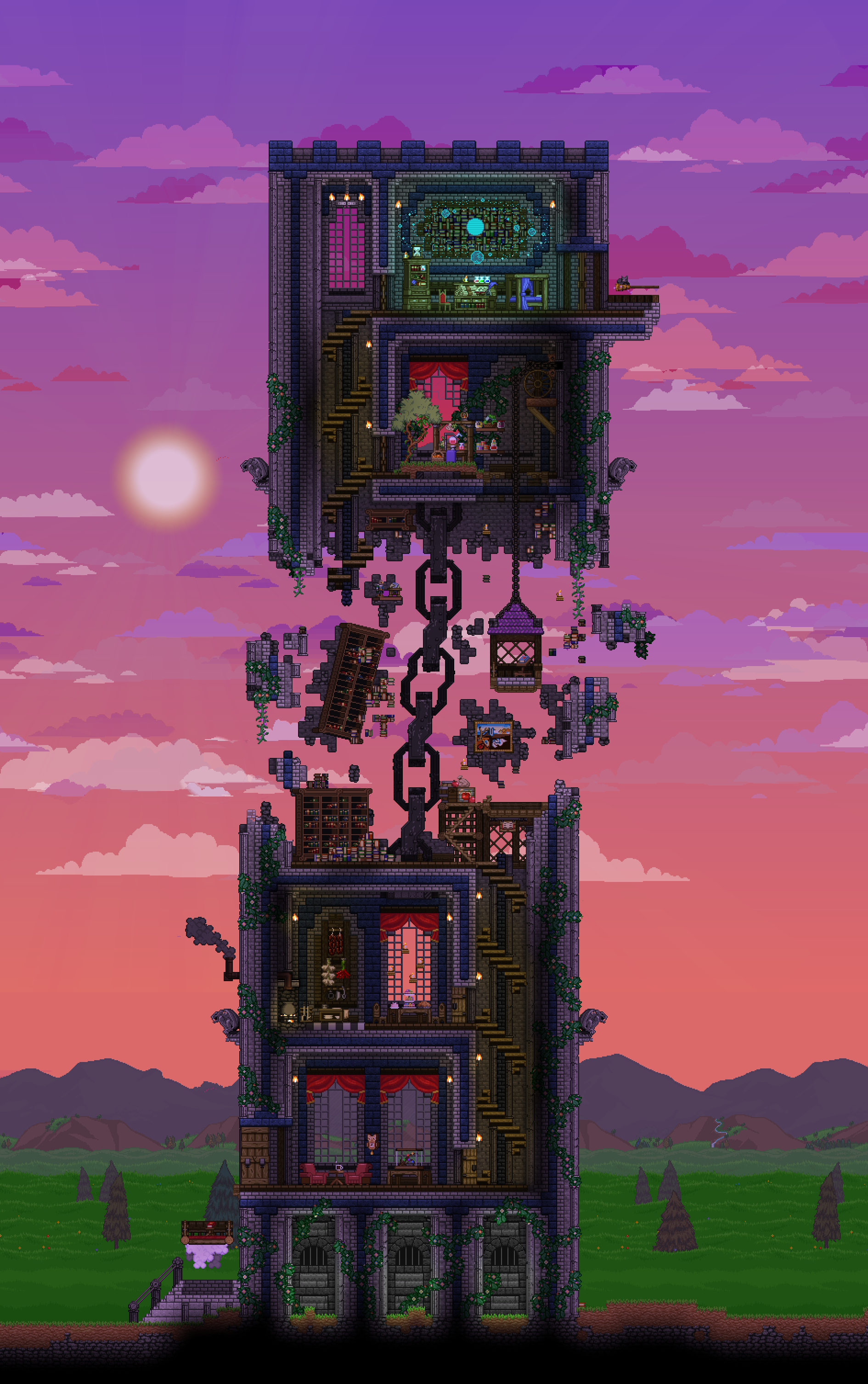 What is left of  wizard   tower by paperairship terraria house design also rh id pinterest