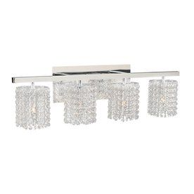 Plc Lighting Rigga 4 Light 9 In Polished Chrome Waterfall Vanity Light  Crystal Bathroom