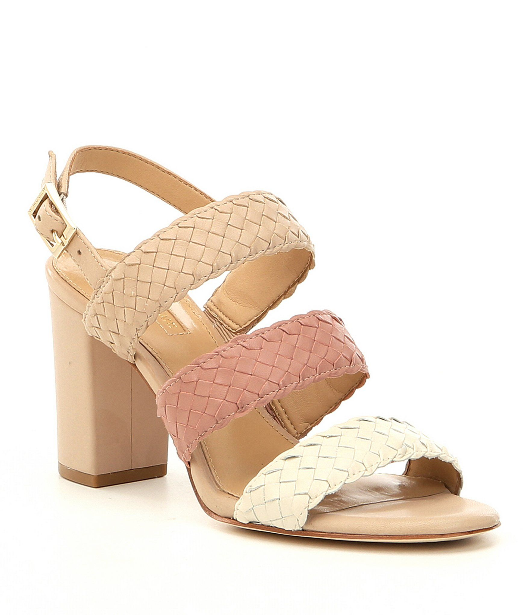 Antonio Melani Odeta Suede Colorblock Woven Block Heel Sandals