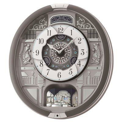 Seiko Melodies In Motion Haven Musical Wall Clock Silver Wall Clock Grey Wall Clocks Wall Clock
