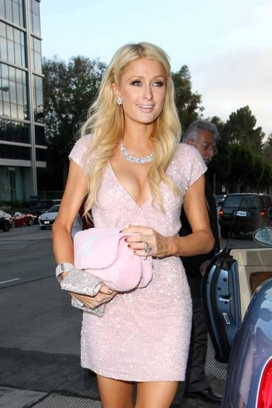 66546d247db9 Paris Hilton wearing Chanel Faux Fur Shoulder Pink Bag