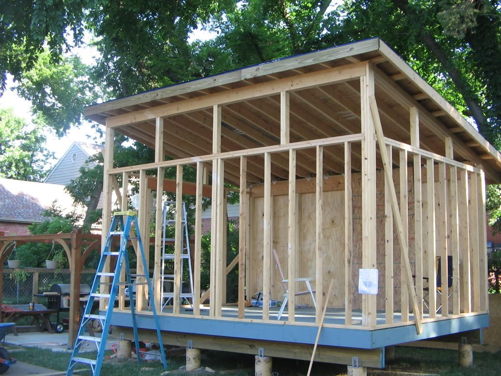 12x16 house designs got the roof deck on finally for How to build a sloped roof shed