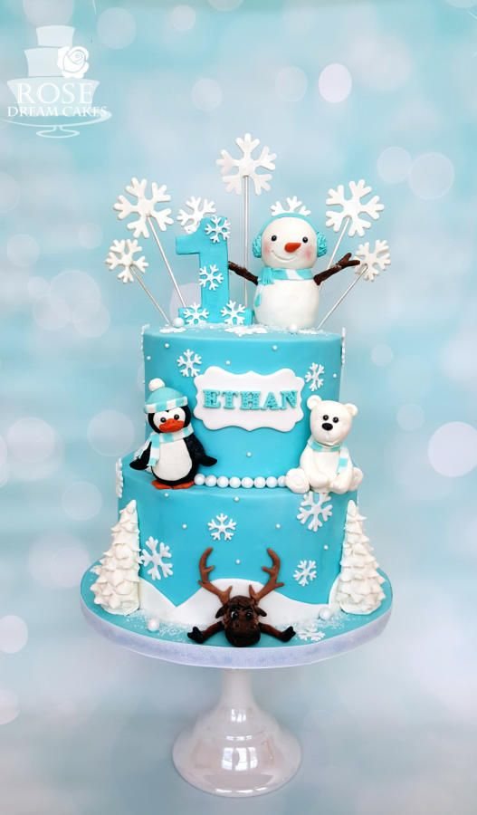Peachy Winter Wonderland Birthday Cake By Rose Kerst Verjaardag Winter Funny Birthday Cards Online Elaedamsfinfo