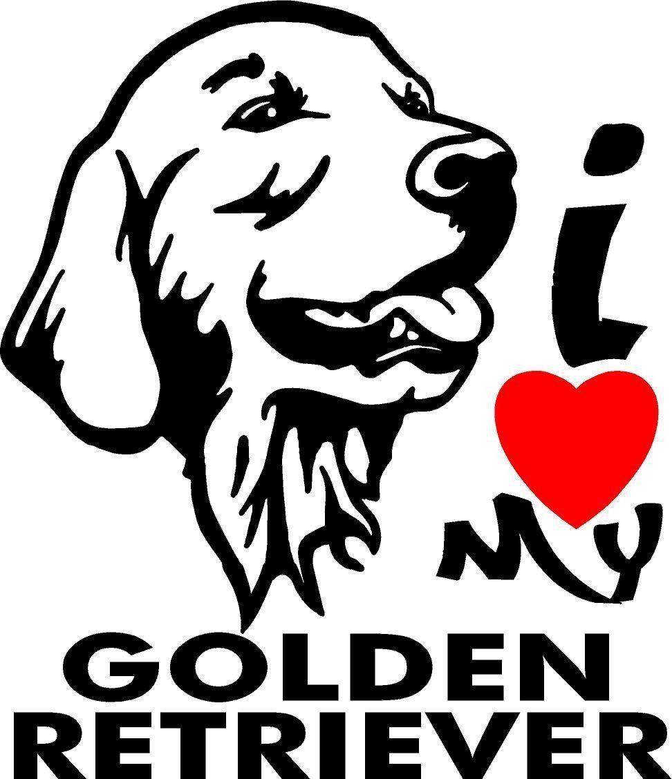 I Love My Golden Retriever Vinyl Sticker Goldenretriever Golden