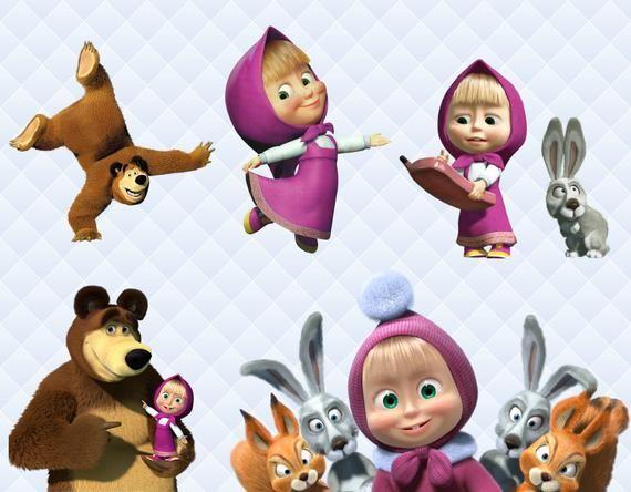 Masha And The Bear Clipart Masha Bear Png Characters Masha Etsy Masha And The Bear Bear Clipart Bear Party