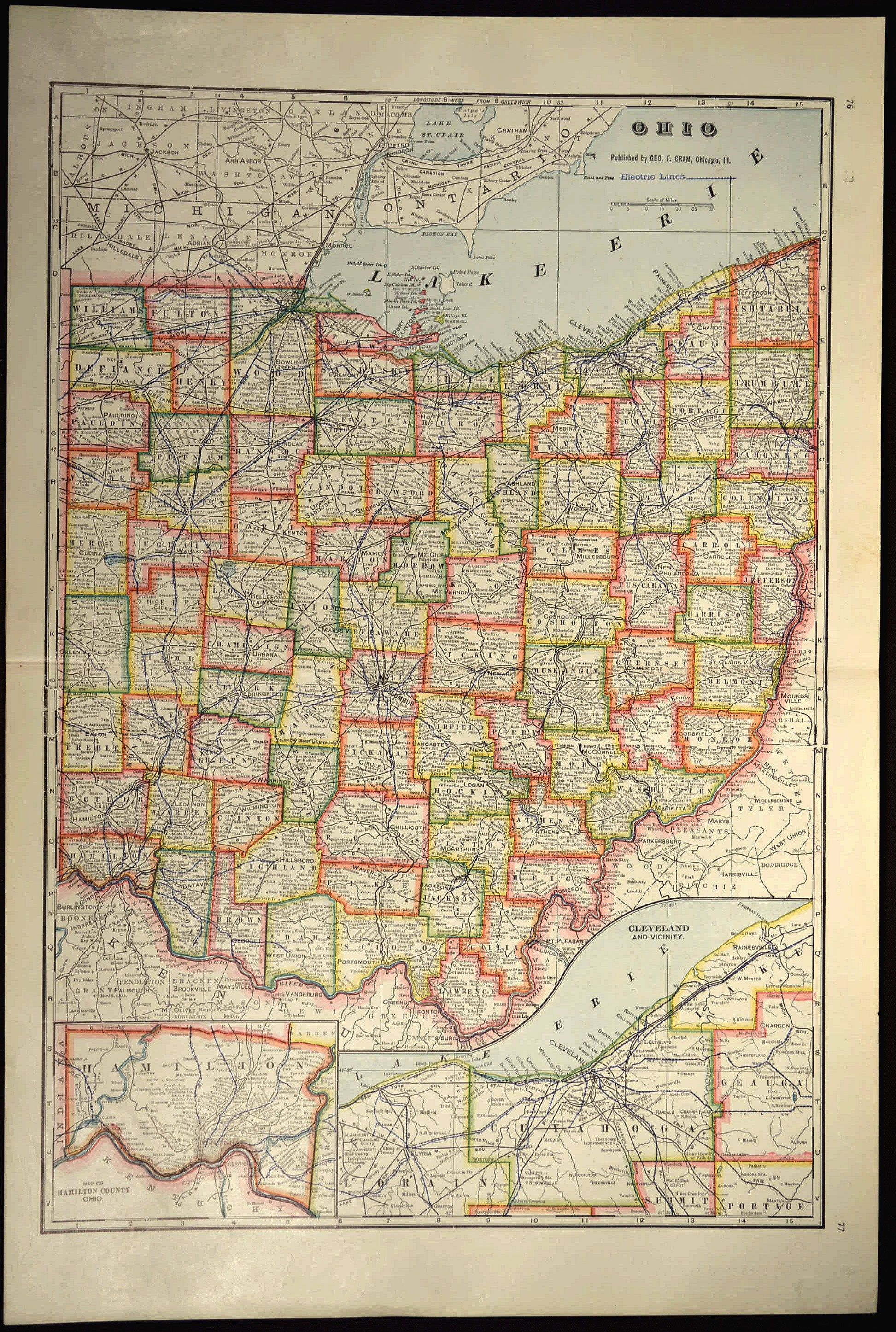 Ohio County Map Ohio Large Antique Colorful Map Wall Decor