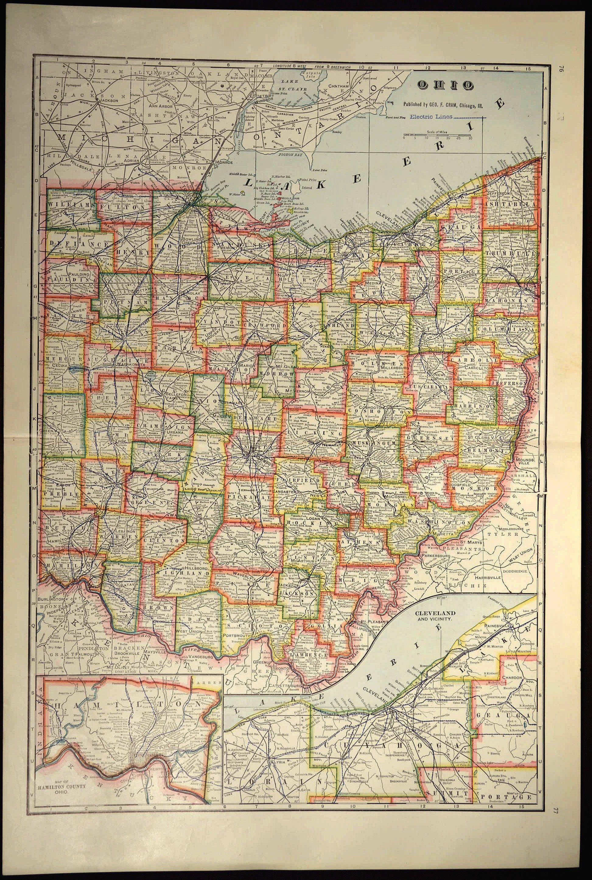Ohio Map of Ohio Wall Decor Art LARGE Antique Colorful