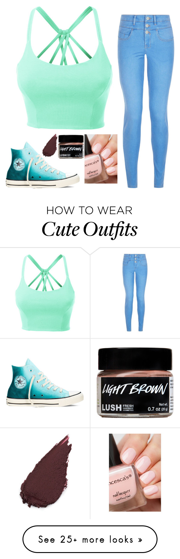 """Cute Outfit"" by aspyn-ovard on Polyvore featuring LE3NO, New Look and Converse"