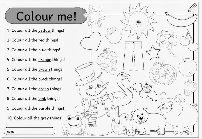 Kleines AB zum Üben der colours Für meine heutige Englischstunde ...