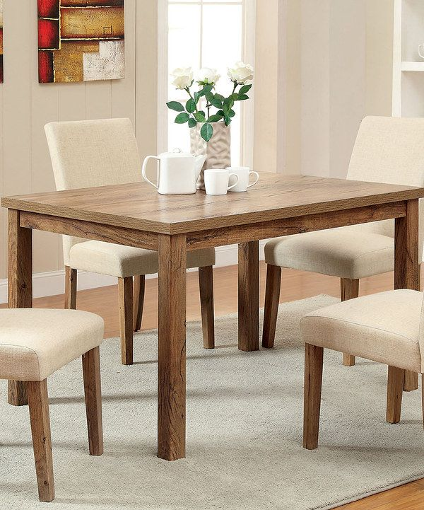 Look at this Rustic Oak Rectangular Dining Table on #zulily today